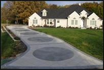 Concrete driveway with engraved pattern