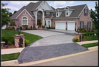 Driveway with stamped concrete apron